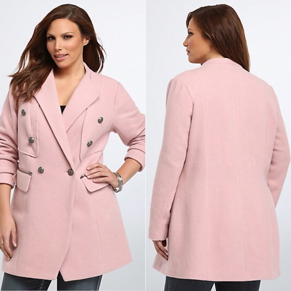 temperament shoes sold worldwide details for Torrid Military Pink Midi Wool Coat Plus Size 2
